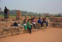 Sketching at Shore Temple, Mahabalipuram